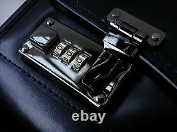 New Black Leather Pilot Case Large Briefcase Flight Bag Cabin Doctors Mens Women