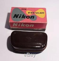 Nikon Nippon Kogaku J B7 Binoculars 5 X 15 With Leather Case Original Box