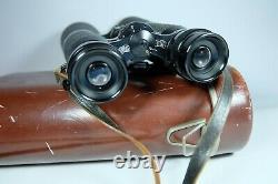 Old Vintage HENSOLDT WETZLAR DIALYT 8X56 Binoculars In Original Leather Case