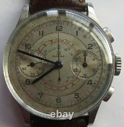 Omega Chronograph cal. 33,3 mens wristwatch steel case original dial