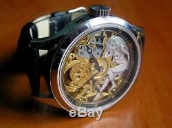 Omega Skeleton 1936 Vintage Branded Original Movement Special Engraving New Case