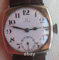 Omega Trench wristwatch nickel chromiun case original enamel dial load manual