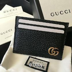 Original GUCCI GG MARMONT Black Leather Cardholder Wallet Purse Case