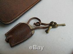 Original Gucci beauty case Rigid Travel Bag brown leather 70's Vintage