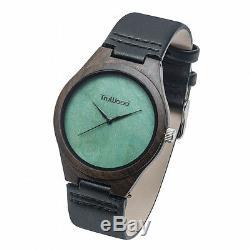 Original Men's Wrist Watch Wood Brown Case Leather Strap Quartz Analog Casual