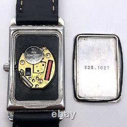 Original Tiffany & Co Wristwatch Rectangular Case on Black Leather Strap