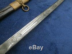 Original Vintage Us Navy Etched Blade Sword And Scabbard With Leather Case