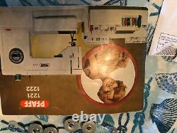 PFAFF 1222 Sewing Machine works, extension table, original foot pedal, and case