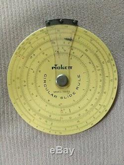 PICKETT Model 109ES Circular Slide Rule with Original Leather Case VINTAGE & RARE