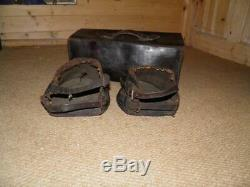 Pair Of Antique Horse Drawn Leather Lawn Mower Boots. Original Leather Case