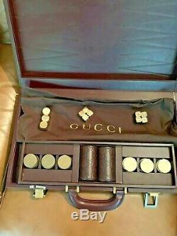 Pre-owned Rare Gucci Backgammon Game Full Size Leather Case Original Piece