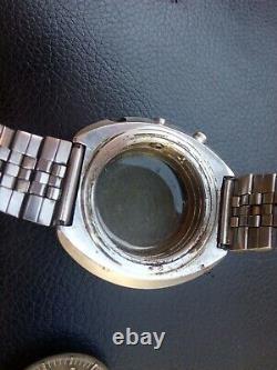 Proyect Seiko chronograf 6138 7000 pilot case dial as is parts
