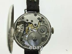 RARE 925 Silver Case Watch WW1 Antique Pilot Serviced George stockwell Vintage