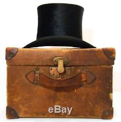 RARE LATE 19TH C ANTIQUE LINCOLN BENNETT & CO LONDON TOP HAT WithORIG LEATHER CASE