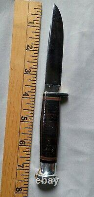 RARE VINTAGE CASE USA Fixed Blade Knife Stacked Leather Handle XX VERY NICE LOOK