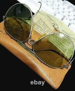 RARE VINTAGE WWII 1940's RAY-BAN SILVER AVIATOR SUNGLASSES LEATHER CASE, CLOTH