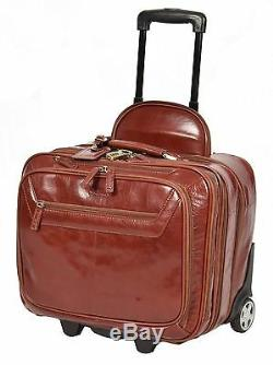REAL Cognac Leather Pilot Case Wheeled Laptop Business Travel Weekend Cabin Bag