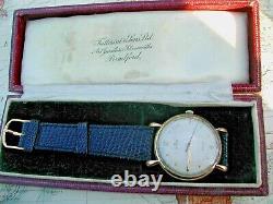 ROLEX 9K GOLD PRECISION 1955. 34mm CASE, TEARDROP LUGS, ORIGINAL BOX, SERVICED