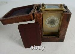 R & Co. French Brass Carriage Clock with Original Leather Case Box