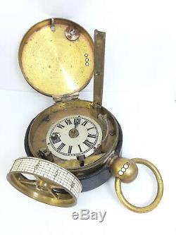 Rare Burk 19thC Brass Night Watchman's Clock With Original leather case/holder