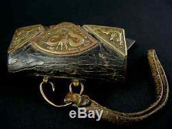 Rare Japanese Antique Flint and Steel Leather Samurai Case Hiuchi-bukuro Japan