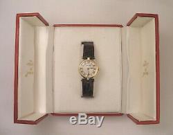 Rare Original Cartier Diamond Vendome 18K Gold Case & Clasp Quartz Watch & Box