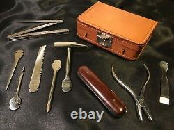 Rare Original Vintage 1950's Abercrombie & Fitch Tool Kit Leather Case Germany