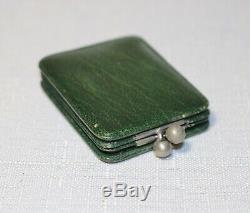 Rare antique 1800's mini Loewenherz leather pocket picture photo frame case box