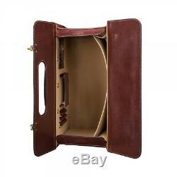 Rolling Wheeled Pilot Leather Flight Catalog Case Lawyer Bag Briefcase Attache