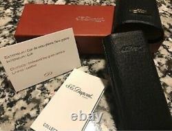 S. T. DUPONT 2 Cigar Case Black Leather w Original Box