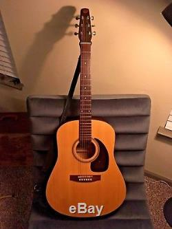 Seagull Original S6 Acoustic Guitar with Hard Case, Leather Strap, and Pickup