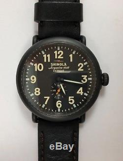 Shinola Runwell Original 47mm Black PVD Case Face Watch Black Leather Strap $600