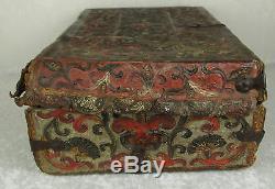 Spanish Colonial Hand Tooled Leather Petaca Document Box Case c1700-1750 Antique