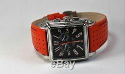 Stuhrling Original Manchester Men's Watch, Square Case, Orange Gen Leather Strap