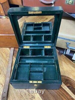 Superb Vintage Leather Cased Green Dispatch Box Style Jewellery Vanity Desk Case
