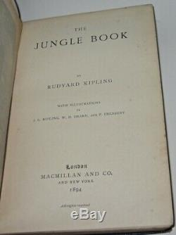 THE JUNGLE BOOK! Rudyard Kipling(FIRST EDITION!)1894! Leather Case + Second RARE