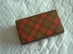 Tartan Ware Sewing Case Stuart French Catch Brevete Sgdg Satin & Leather