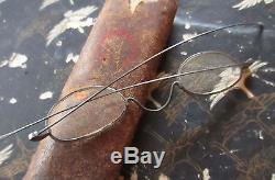 True Vtg 1800s Steampunk Eye Glasses Wire Frame Silver Specs Mens WithLEATHER CASE