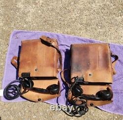 US Army Radio Field Phones EE-8-B Leather Case US Signal Corps 1943 WWII