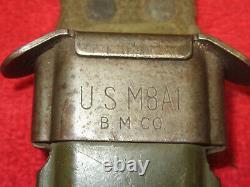 US Original WWII/Korea Leather Handle CASE M1-Carbine Bayonet WithScabbard