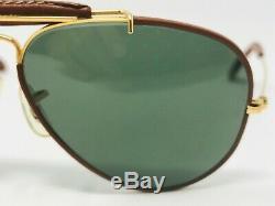 VINTAGE B&L RAY BAN Aviator Outdoorsman LEATHERS Sunglasses 58 mm OG Case