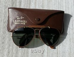 VINTAGE Bausch & Lomb RAY-BAN, Green, Aviator, Brown Leather with Case