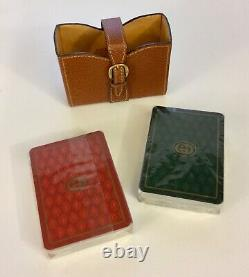 VINTAGE GUCCI PLAYING CARDS WithORIGINAL LEATHER CASE RARE FIND