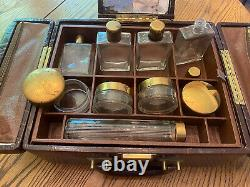 VINTAGE Leather Cosmetic Vanity Train/Travel Case With Original Glass Bottles