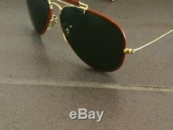 VINTAGE RAY BAN B&L LEATHERS OUTDOORSMAN SUNGLASSES WITH CASE MADE IN USA 58mm