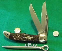 VTG CASE XX HUNT BLADE Sheath USA Folding Knife 1 Spike Yacht leather Rigger Set
