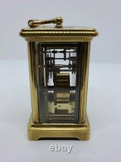 Victorian Brass & Beveled Glass Carriage Clock withOriginal Carrying Case France