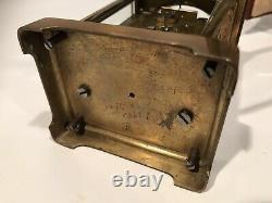 Victorian Brass/Beveled Glass Carriage Clock withOriginal Leather Case Key France