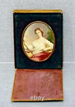 Victorian Diana Goddess Portrait Miniature Painting RS signed in Leather Case