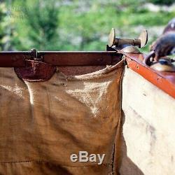 Vintage 20th Century FRENCH Antique Leather Gladstone Bag Doctor's Case